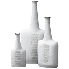 Three Bruno Gambone Stone Ware Greige Vase, 1984