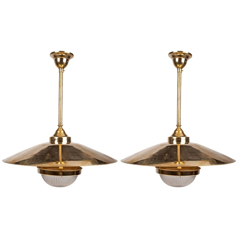 Pair of Brass Pendant Lights with Fresnel Glass Shade, Midcentury