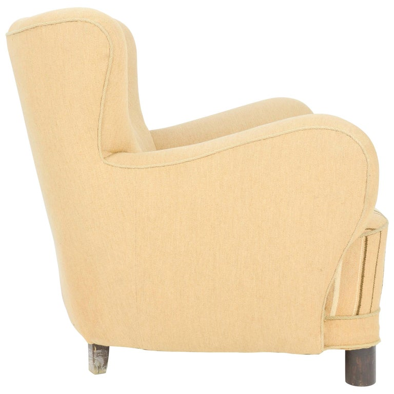 1940s, Danish Club Chair by Flemming Lassen in Burlap 1
