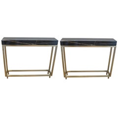 Pair of Marble and Bronze Console Tables