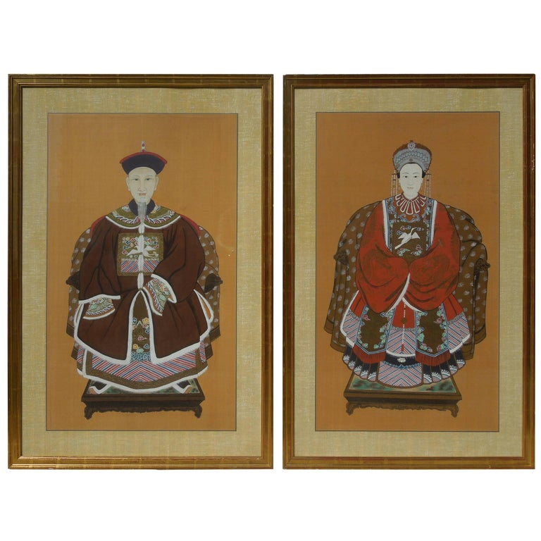 Pair of Large Original Chinoiserie Emperor and Empress Paintings