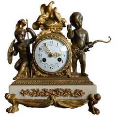 Antique Gilt Bronze & Patinated Cupid & Soldier Mantel Clock Love Overcomes War