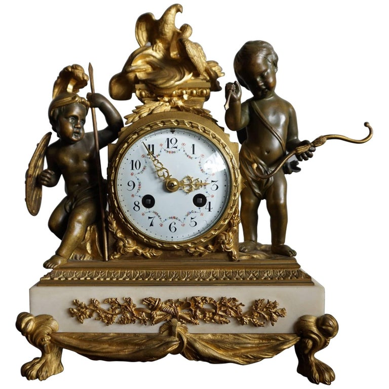 Antique Gilt Bronze & Patinated Cupid & Soldier Mantel Clock Love Overcomes War For Sale