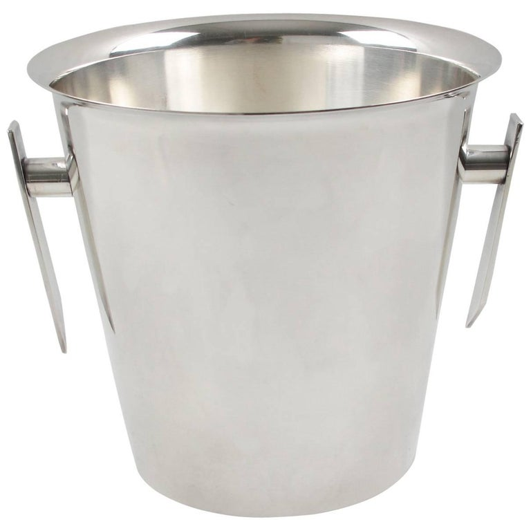 Mid-Century Modern Silver Plate Champagne Bucket Wine Cooler, France circa 1950s 1