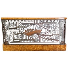 Art Deco Forged Steel and Burl Console with Ocean Liner Motif