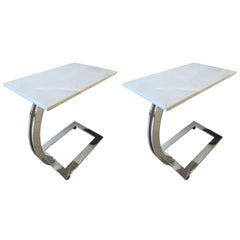 Pair of Marble and Chrome Side Tables
