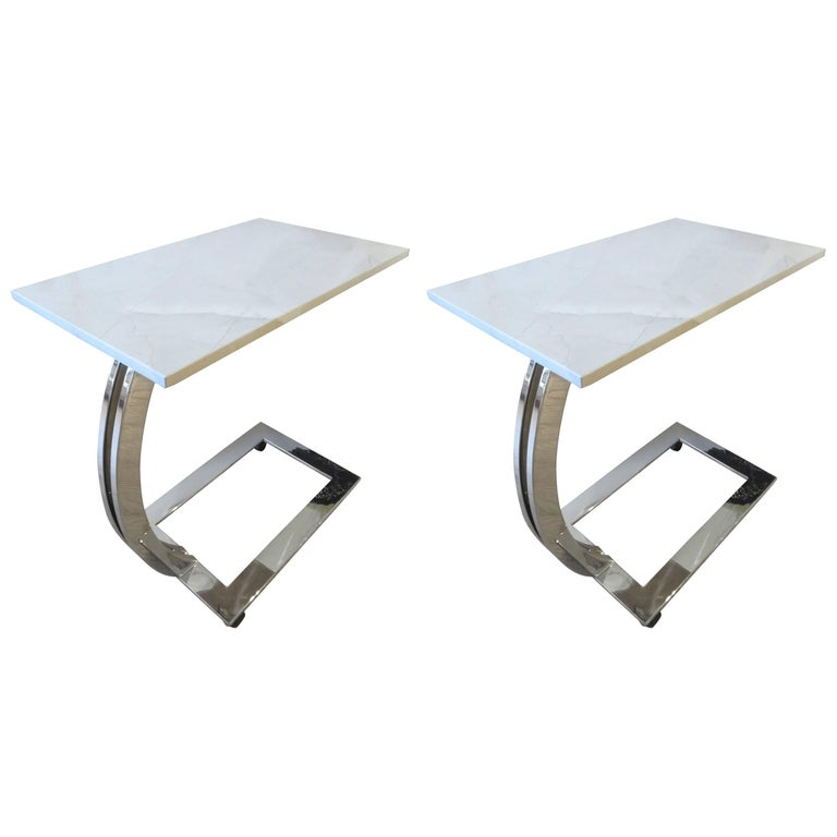 Pair of Marble and Chrome Side Tables For Sale