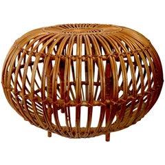 Albini Wicker Bamboo Pouf Ottoman