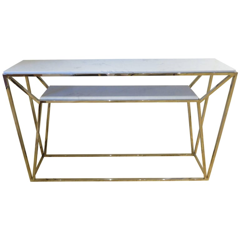 Marble and Chrome Two Level Console Table 1