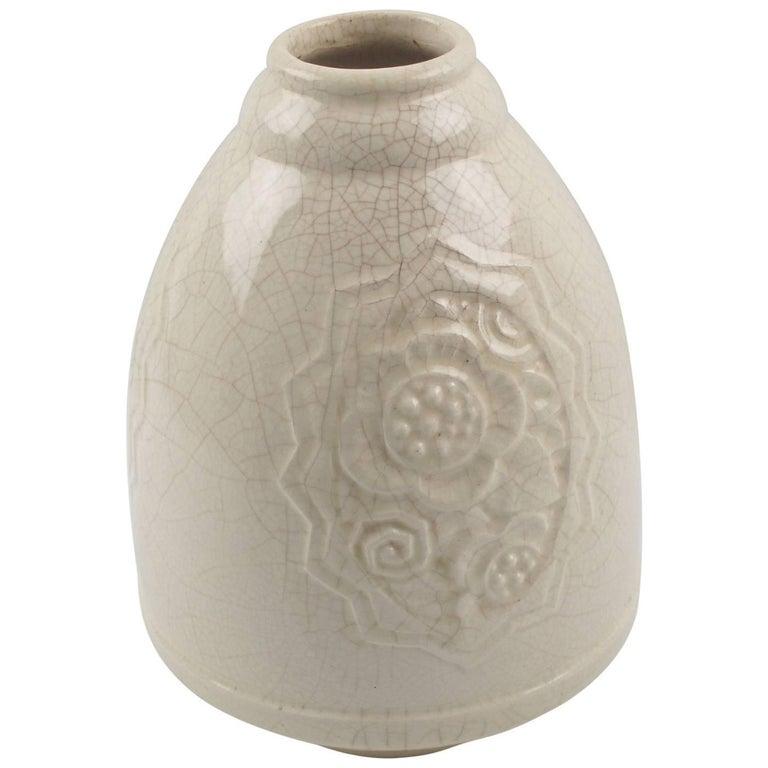 Art Deco Crackle Glaze Ceramic Vase by Saint Clement, France circa 1930s