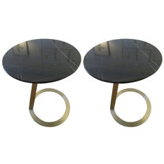 Pair of Brushed Bronze and Marble-Top Side Tables