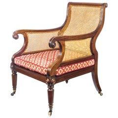English Regency Mahogany Library Bergère Armchair Attributed to Gillows