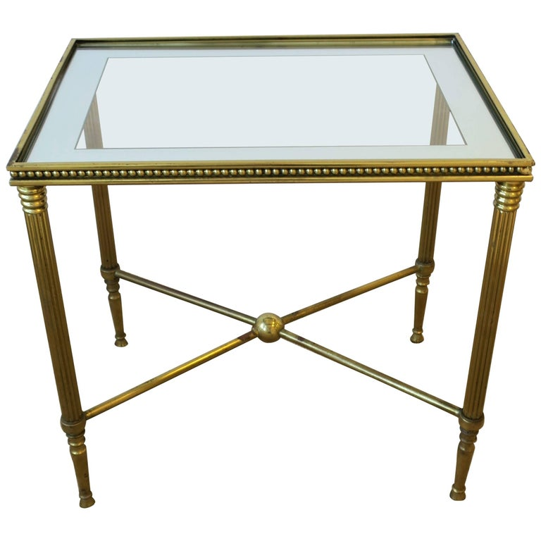 Midcentury Italian Brass and Glass End or Side Table