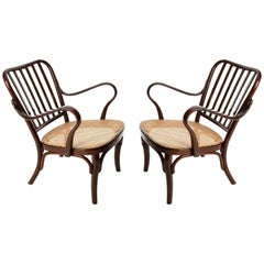 Pair of Josef Frank Armchairs A 752, Wood Cane, Thonet, Austria, 1930s