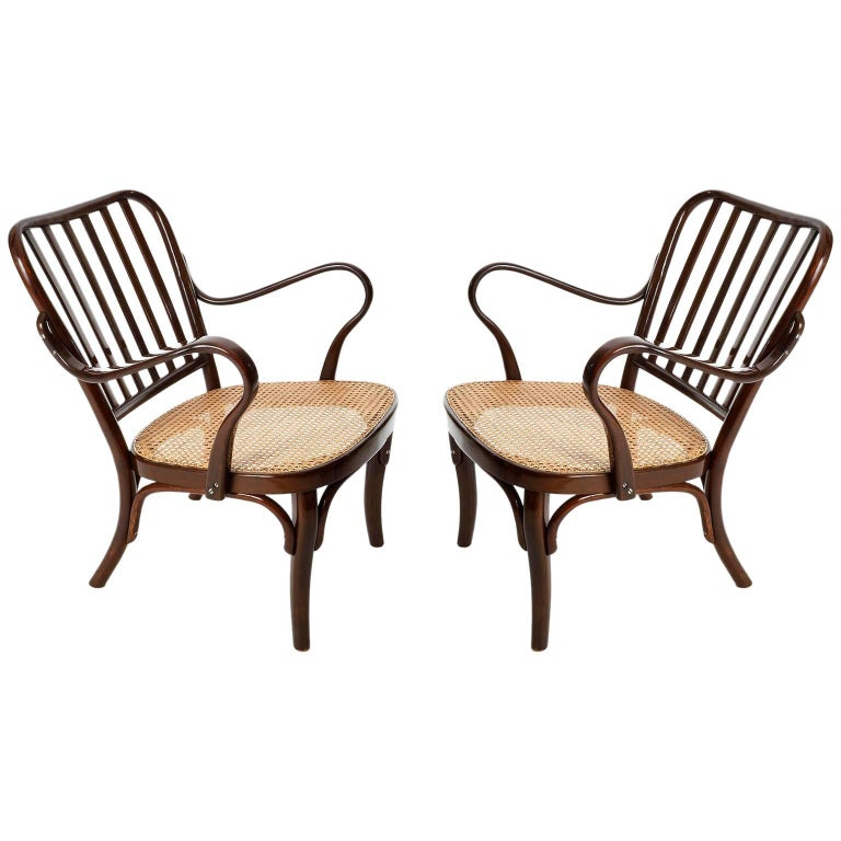 Pair of Josef Frank Armchairs A 752, Wood Cane, Thonet, Austria, 1930s For Sale