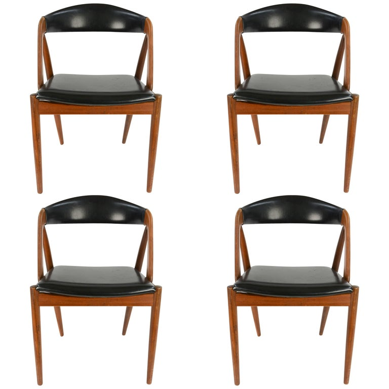 Set of Four Kai Kristiansen Model 31 Teak Dining Chairs with Leatherette 1