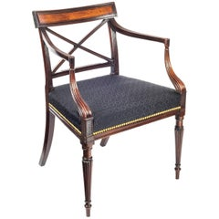 English Georgian Regency Neoclassical Mahogany Desk Armchair in Black Horsehair