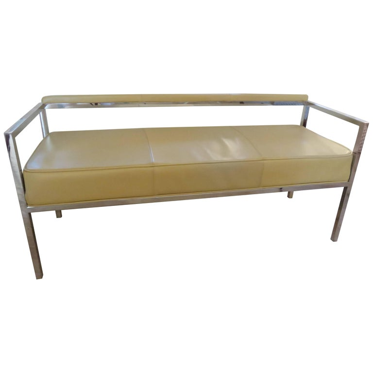 Leather and Chrome Bench-Settee 1