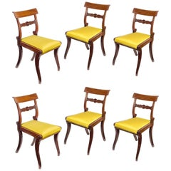 Set of Six English Regency Mahogany Klismos Dining Chairs in Yellow Moire Silk