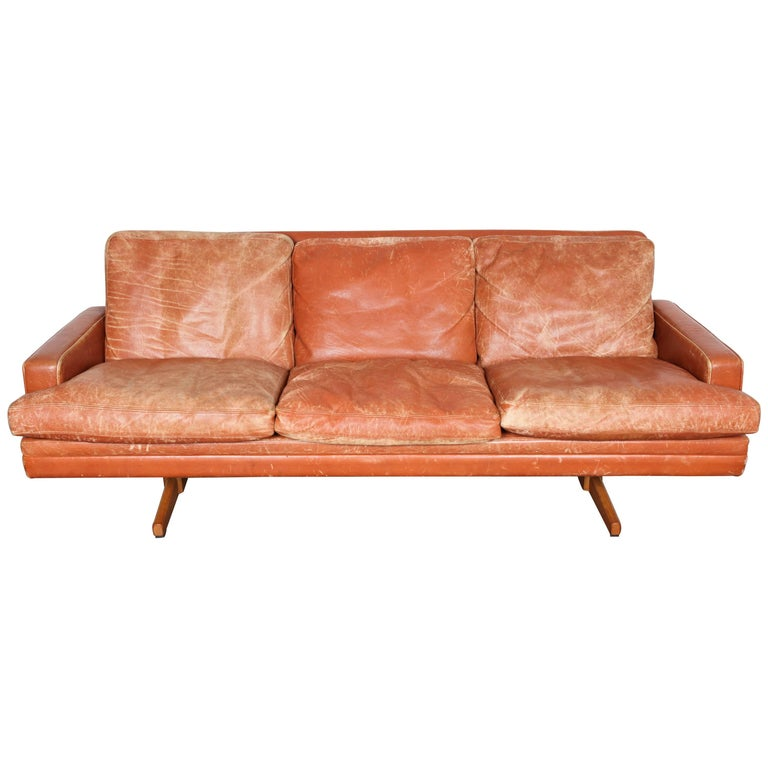 Norwegian Mid Century Modern Burnt Orange Leather Sofa By
