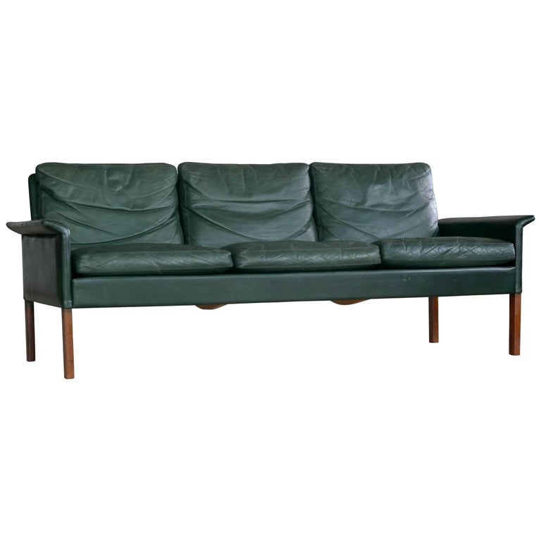 Hans Olsen 1960s Sofa In Rare Racing Green Leather For C S