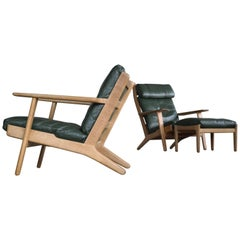 Hans Wegner Pair of High and Low Lounge Chairs and Ottoman Model 290 for GETAMA