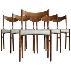 Arne Wahl Iversen Set of Six Rosewood Dining Chairs for Glyngøre Møbler, Denmark