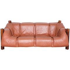 Percival Lafer MP-211 Brazilian Leather Sofa, 1970s Brazil
