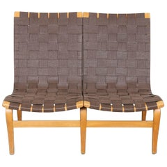 Swedish Mid-Century Modern Two-Seat Webbed Sofa by Bruno Mathsson