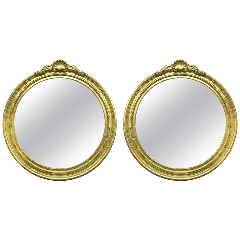 Pair of 19th Century, Majestic Gold Leaf Mirrors