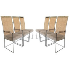 Set of Six High Back Cane Dining Chairs by Milo Baughman for Thayer Coggin