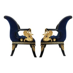 Fine Pair of Italian Neoclassical Lacquered and Gilt Armchairs
