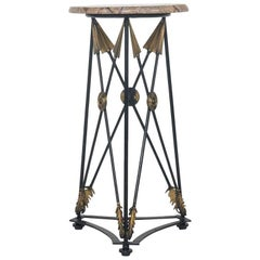 Gilt Iron Neoclassical Style Arrow Gueridon with Marble Top
