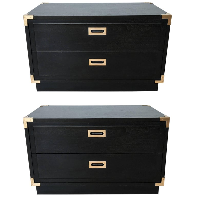 Pair of Campaign Style End Tables or Nightstands, 1970s