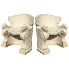 Pair of Neoclassical Carved Stone Tub Chairs / Benches