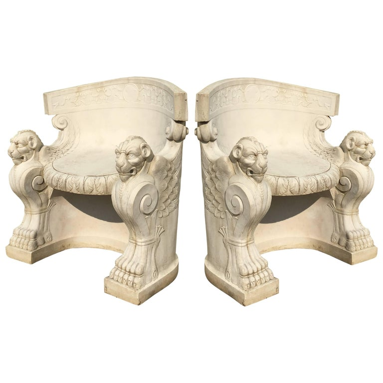 19th Century Rare Pair of Neoclassical Carved Stone Tub Chairs / Benches For Sale