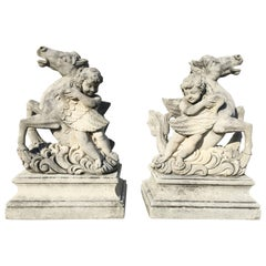 Pair of Putti Garden Statues with Horses