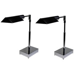 Pair of Nickel-Plated Phoenix Day Telescoping Table Lamps