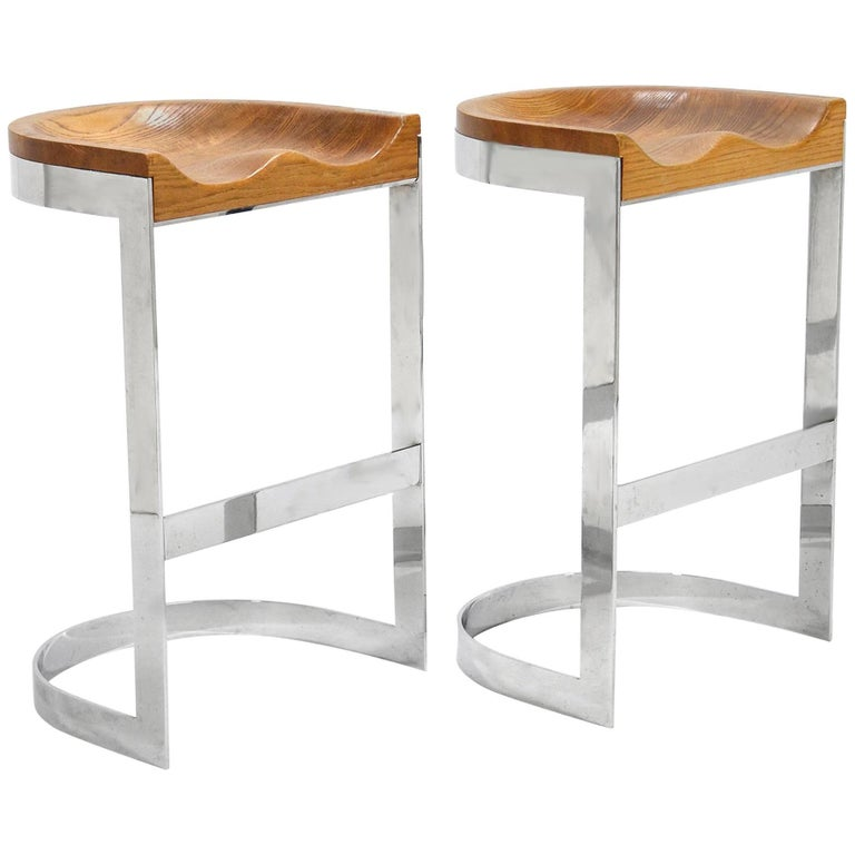 Pair of Warren Bacon Oak and Chrome Counter Stools