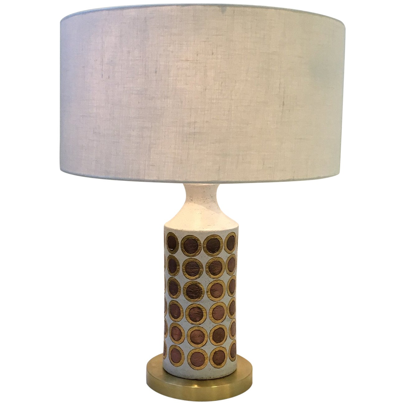 Italian Ceramic and Brass Table Lamp by Bitossi