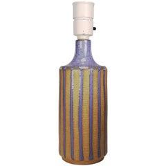 1960s Danish Modern Blue Striped Soholm Lamp by Maria Philippi
