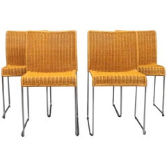 Dining Chairs, Model S 21, in Paper Cord by Titio Agnoli and Bonacina, 1980s