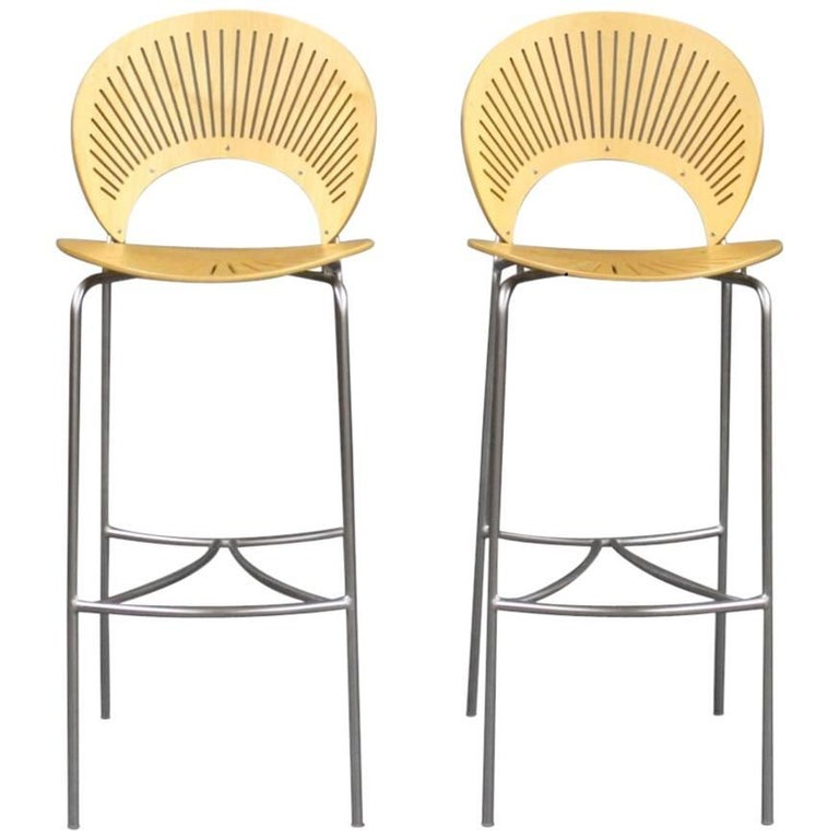 Set Of Trinidad Stools In Birch By Nanna Ditzel And Fredericia Furniture For Sale