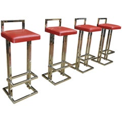 Set of four Leather and Chromed Bar Stools, Maison Jansen, France, 1980s