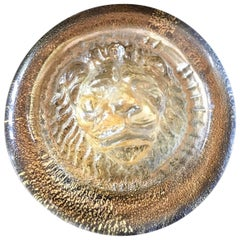 Italian Murano Glass Leo Lion Paper Weight Ornament after Versace
