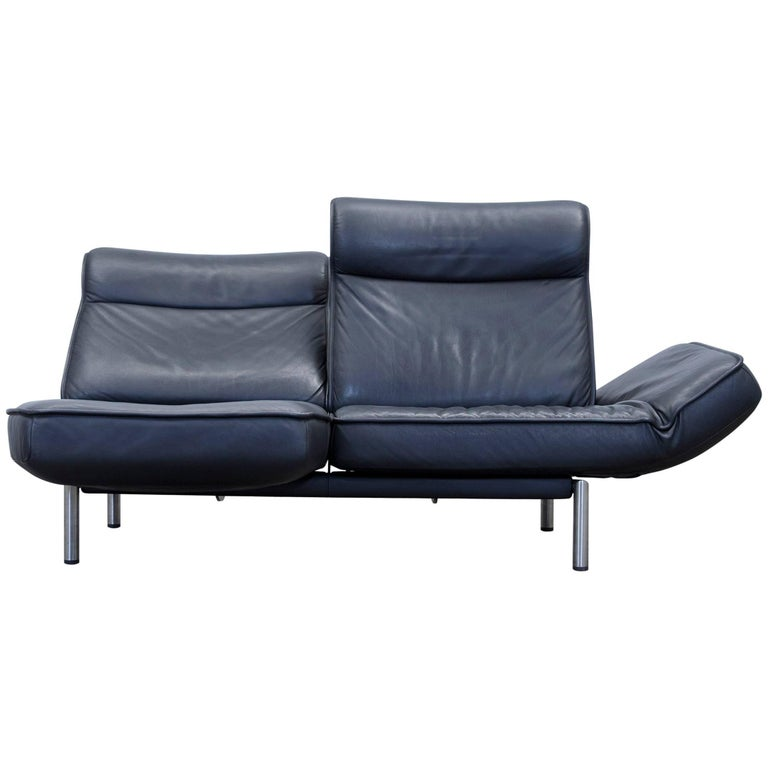 De Sede DS 450 Designer Leather Sofa Black Relax Function Two-seat Modern For Sale