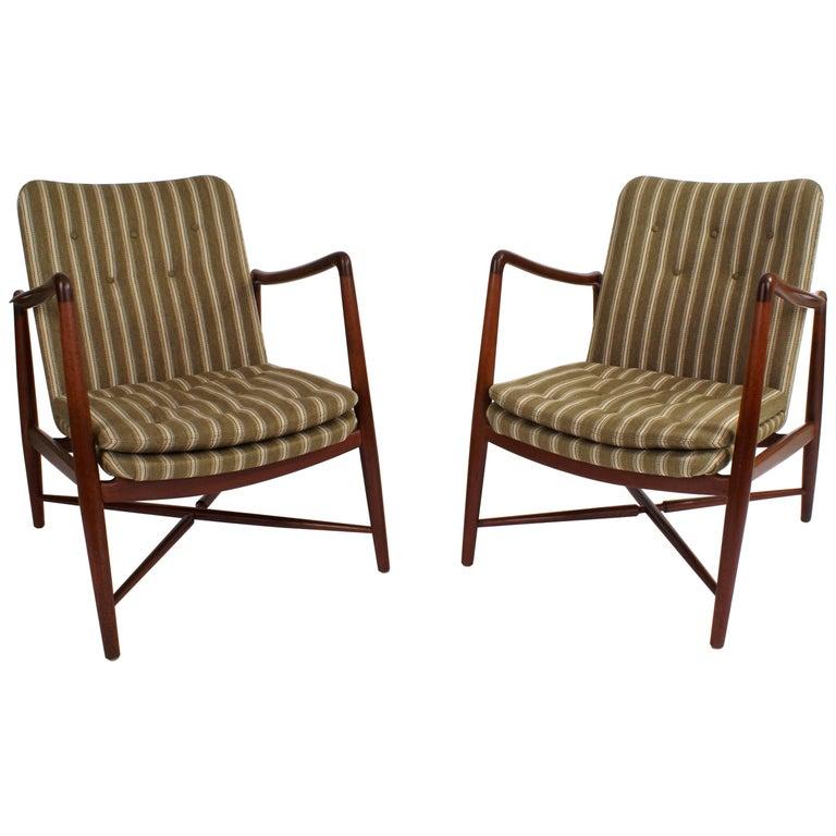 Finn Juhl Pair of 'Fireplace Chairs' for Bovirke in Teak, Model BO-59, 1946
