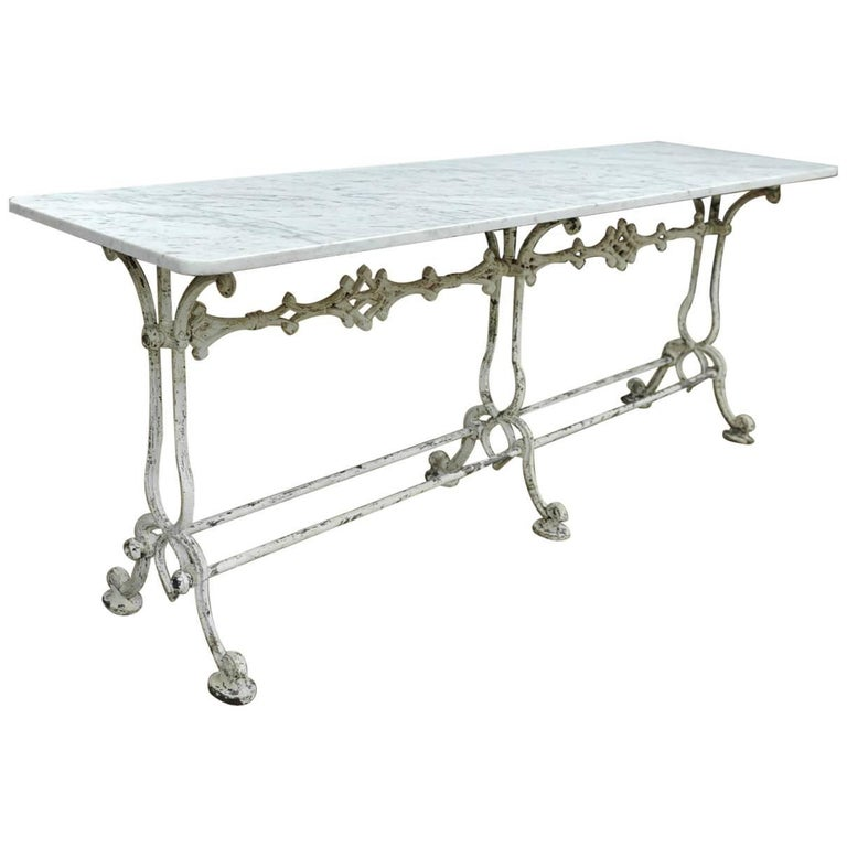 French Marble and Cast Iron Garden Table, 1900