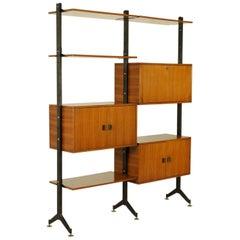 Bookcase Metal Brass Teak Veneered Wood Vintage, Italy, 1950s-1960s