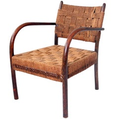 Frits Schlegel Beech and Seagrass Armchair, 1930s